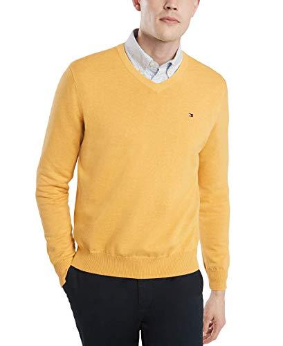 Tommy Hilfiger - Suéter de algodón con cuello en V para hombre, Jersey de algodón con cuello en V, XS