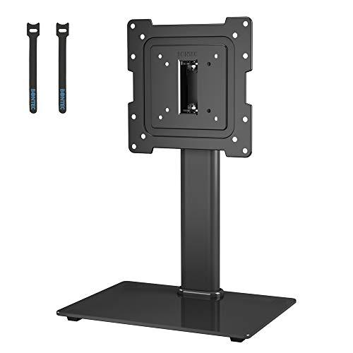BONTEC Soporte TV Pedestal para Mesa TV Peana Universal Giratorio de 17-43 Pulgadas LCD/LED/OLED/Plasma/Curva con Rotación de 50 Grados, Altura Ajustable, hasta 45kg, Máx VESA 200x200 mm