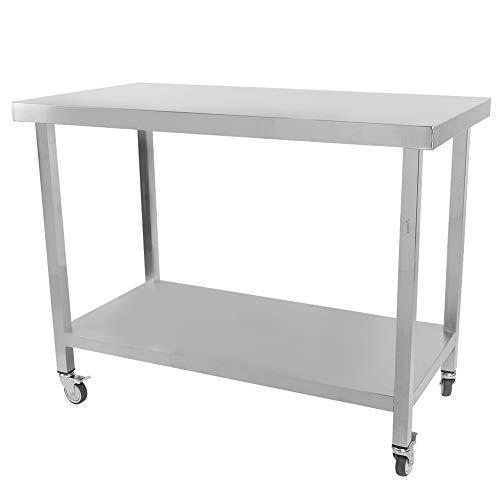GOTOTOP Mesa de trabajo para cocina profesional de acero inoxidable, mesa de trabajo de cocina, banco de trabajo de cocina, doble capa, con ruedas, 115 x 80 x 60 cm