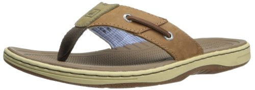 Sperry Mens Baitfish Thong Sandals, Dark Tan, 10