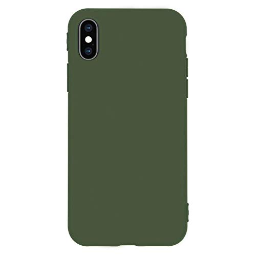 Danbey Matte Case for iPhone Xs, for iPhone X, 5.8 inches Display, Matte Surface Slim Cover, Skin Feeling, 1.5mm Thick Flexible TPU, Charming Solid Color - Dark Green
