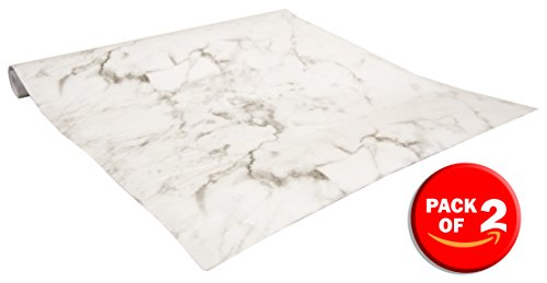 Home Basics Self Adhesive Shelf Liner, 2 Pack (Marble White)