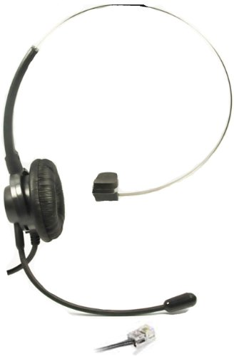 Call Center Headset Headphones Ear Phone + Adjustable Volume + Mute Control for Polycom SoundPoint IP Phone Series, Models 300 301 430 500 501 550 600 601 650 IP Telephone