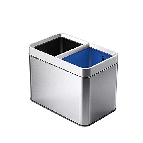 jinyi Cubo de basura clásico de acero inoxidable de doble barril de basura sala de estar clasificación de la cocina Papelera de gran capacidad sin tapa papelera de basura/basura