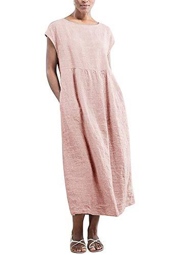 Yidarton Kleider Damen Lang Sommer Elegant Strandkleid Kurzarm Rundhalsausschnitt Casual Lose Maxi Kleider mit Taschen (Rosa, L)