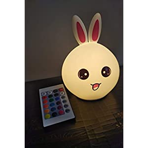 Total Dreamz Long Ear Bunny Silicone Kids Night Light with Touch Sensor and Interactive Remote – Portable and Rechargeable Cool Entertaining Baby Color Changing Nightlight Lamp
