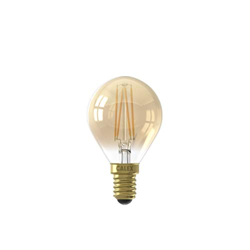 Calex 220–240 V 3,5 W 200 lumen E14 P45 2100 K CRI80 dimbar LED helt glasglödtråd ljuslampa, guld