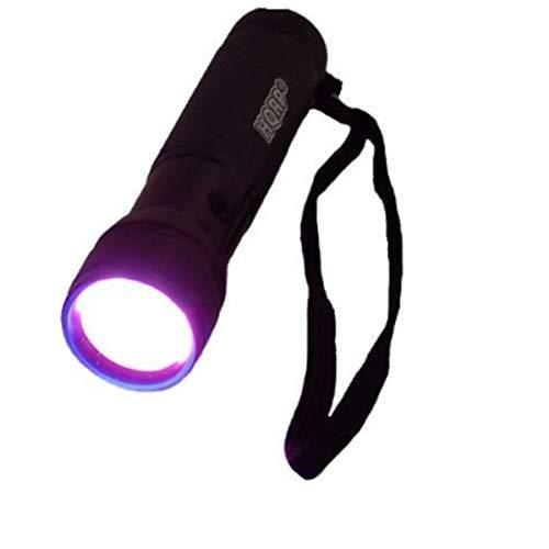 HQRP Profesional Linterna 12 LED UV Ultravioleta 365 nM Antorcha lámpara más gafas protectoras de UV más HQRP Medidor del sol