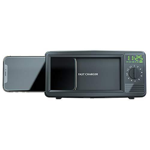 Soporte Para Teléfono Retro TV, Soporte Inalámbrico de Carga Rápida con USB C, Altavoces Bluetooth Para TV con Reloj Despertador, Adecuado Para Teléfonos de 4.1 a 6.7 Pulgadas, Regalos Para Familias