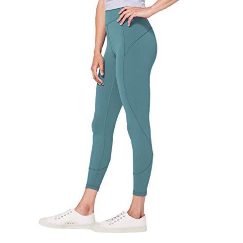 WOZOW Damen Leggings Gamaschen Solid Basic Dünn Skinny Stretch Sport Hose Yoga Stoffhose High Waist Sweathose Casual Workout Jogginghose Trousers (S,Mint Grün)