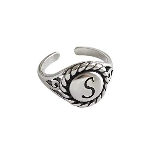 Lotus Fun S925 Sterling Silber Ring Vintage Englisch S Brief Ringe öffnen Ringe Natürlicher Kreativ Beliebt Handgemachter Einzigartiger Schmuck für Frauen und Mädchen