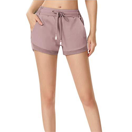 Las mujeres con cordón de yoga pantalones cortos de verano de deportes para la aptitud al aire libre transpirable pantalones calientes de yoga Correr pantalones cortos de control de barriga