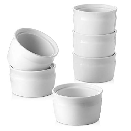 ZONESUM Ceramic Ramekins, 8 oz Oven Safe Ramekins - Souffle Ramekins Dishes, Perfect Size for Baking Souffle, Creme Brulee, Custard, Pudding, dessert, Broiler & Dishwasher Safe, Set of 6, Navy Blue