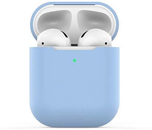 Funda AirPods Silicona Compatible con AirPods 2, KOKOKA Fundas Protectora de Silicona para AirPods LED Frontal Visible, Soporta Carga inalámbrica, sin Mosquetón-Azul Cielo