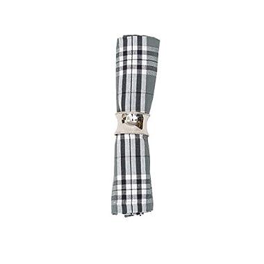 Max Plaid Gray Cotton Napkin Set of 6
