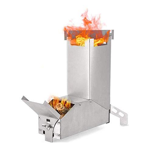 HYRL Estufa de leña de Acero Inoxidable Estufa de Cohete portátil Estufa de leña Plegable Herramientas de Cocina de Picnic al Aire Libre