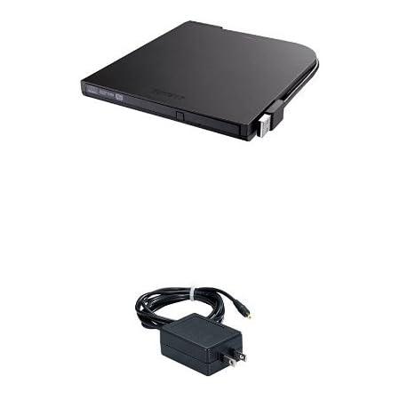 BUFFALO USB2.0 ポータブルDVDドライブ Windows/Mac両対応 フラットデザイン ウルトラスリムタイプ ブラック DVSM-PT58U2V/N + BUFFALO 外部電源供給用ACアダプタ AC-DC5-BK セット