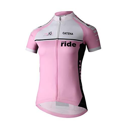 Catena Women's Cycling Jersey Long Sleeve Shirt Running Top Moisture Wicking Workout Sports T-Shirt (Pink Short, Large)