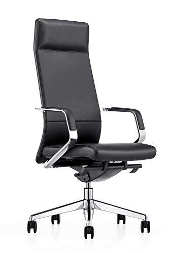 SalesFever Bürostuhl Sleek | höhenverstellbar | Bezug Echt-Leder in Schwarz | verchromtes Gestell | Rückenlehne mit Lordosenstütze | komfortable Kopfstütze
