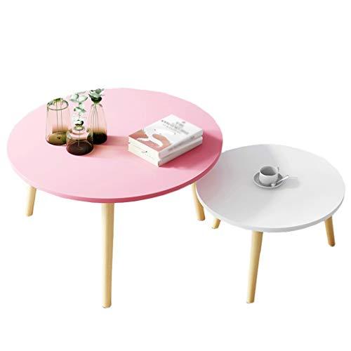 Bijzettafel 2-delige salontafel hout ronde retro thee tafel woonkamer balkon klein appartement bank MUMUJIN