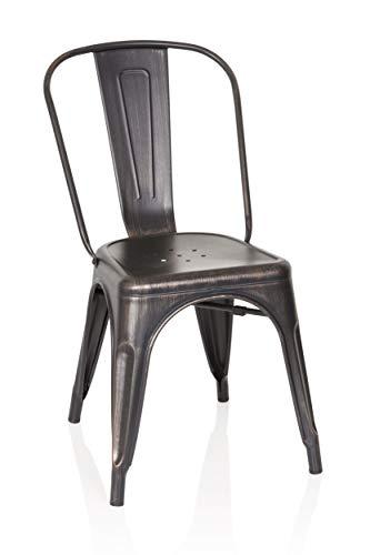 hjh OFFICE 645036 Bistrostuhl VANTAGGIO Comfort Metall Schwarz/Gold Stuhl im Industry-Design, stapelbar