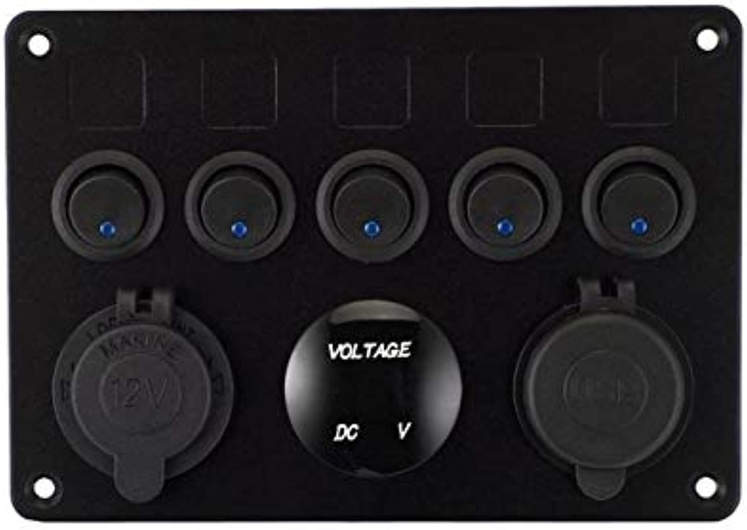 Cocas 5 Gang ONOff Toggle Switch Control Panel with Digital Voltmeter 2 USB Charger 12V for Car Marine Boat