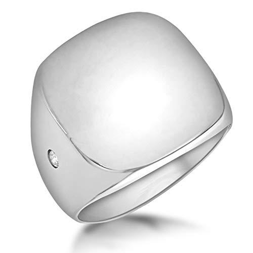 Tuscany Silver-Anillo mujer -Plata de ley bañada en rodio- sello cuadrado con circonita-Talla 15.5-