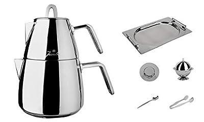 Stainless Steel Turkish Teapot Samovar - 18/10 Jumbo Premium Quality Tea Kettle for Stove Top INOX Medium Size 1.8 Lt