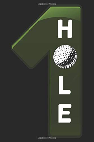 GOLF notebook hole in one: GOLF Journal blank book, 6x9 inch, 108 unlined plain pages, small golfball icon on each page, cover: green