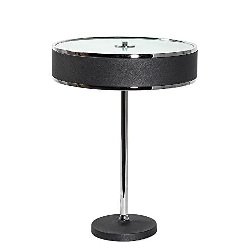 Lámpara de mesa redonda elegante de 35 cm de diámetro y 47 cm de alto, metal antideslumbrante en grafito Lorsan.