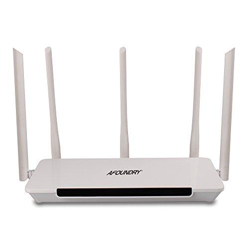 AFOUNDRY Q500 Router Wireless WLAN Gigabit Dual Band AC, Router Computer Fast Ethernet, Wi-Fi Gigabit WAN/LAN 1200Mbps, USB 2.0, 5x5dBi Fisso Antenna
