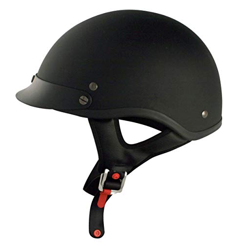 VCAN Cruiser Solid Flat Black Half Face Motorcycle Helmet (X-Large)
