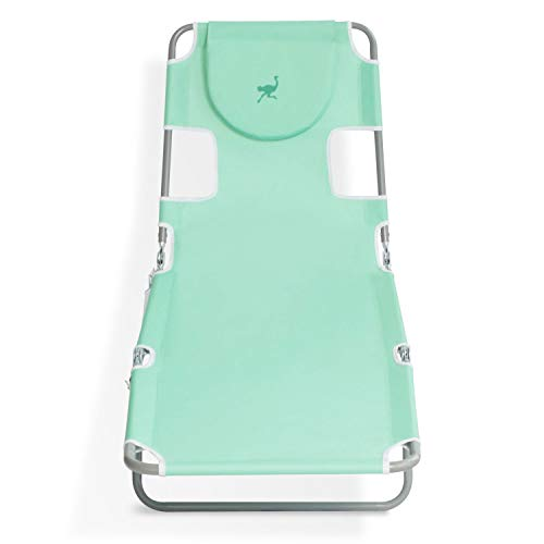 Ostrich Outdoor Lightweight Adjustable Folding Recliner Chaise Lounge Beach Pool Chair with Face Opening & Carrying Strap for Lake Patio Camping, Teal