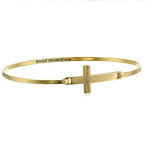 Pulsera de acero de titanio Pulseras de los hombres Pulsera inglesa con cruz y 'Faith Hope Love' Pulsera cruzada horizontal para hombre y mujer