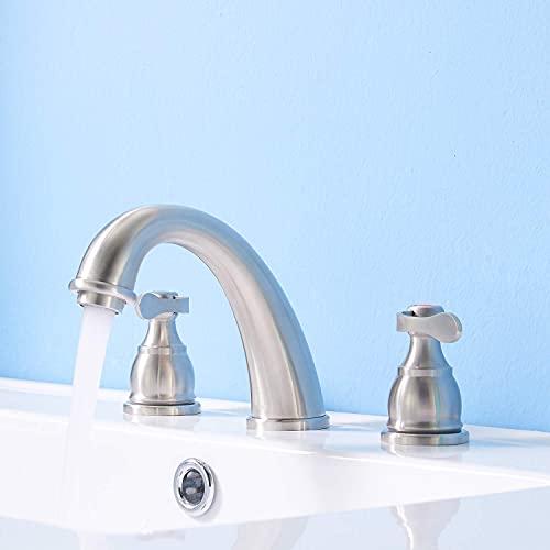 Grifo de baño de bronce rústico frotado, 3 orificios Baño de lavabo de baño fregadero grifo con 2 asas Mimitool (Color : Brushed Nickel)