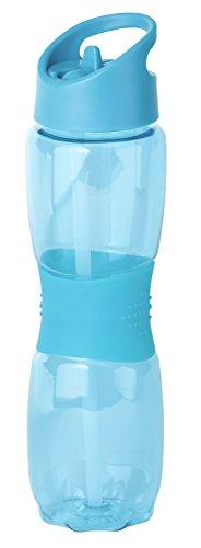 Thermo Rex Trinkflasche Grip | 800ml | blau | BPA-freier Kunststoff | nahezu bruchsicher u wiederverwendbar | mit integriertem Strohhalm | Wasserflasche
