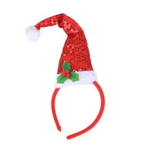 Amosfun Sombrero de Navidad, diadema, disfraz, accesorios decorativos con lentejuelas, diademas para fiestas, Navidad, regalo de cumpleaños para niños (rojo)