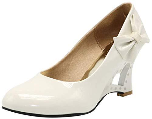 Pumps 5 Farben Weiß Creme Pink Schwarz Gelb Keil Hochzeit High Heels Schuhe Brautschuhe Braut Damenschuhe (37 wie (36), Ivory)