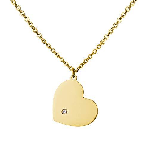 URBANHELDEN - Herz Kette für Damen - Hals Kette Amulett - Herz-Anhänger mit Zirkonia Kristall - Damen-Kette Herzkette Schmuck - Big Gold