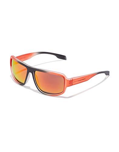 HAWKERS · Gafas de Sol F18 Orange, para Hombre y Mujer, de diseño sportswear con montura negra y naranja translúcida y lentes iridiscentes naranjas y rojas, Protección UV400