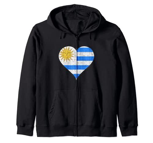 Corazón de la bandera uruguaya Sudadera con Capucha