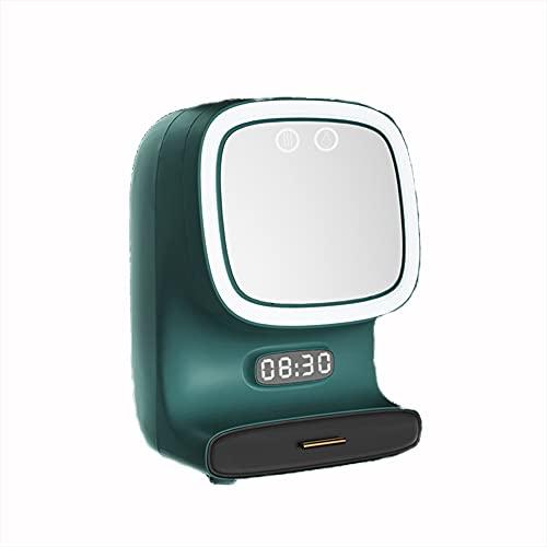 WUQIAO Caja de Almacenamiento de Gran Capacidad para el hogar, giratoria de 360 Grados, con Ventilador silencioso y Espejo con luz LED,Verde
