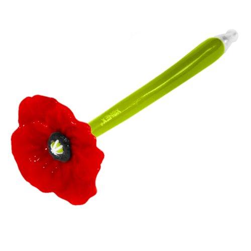 Xonex Poppy Flower Pen, Black Ballpoint, 1 count, 5 1/2 Inch, Red (10710)