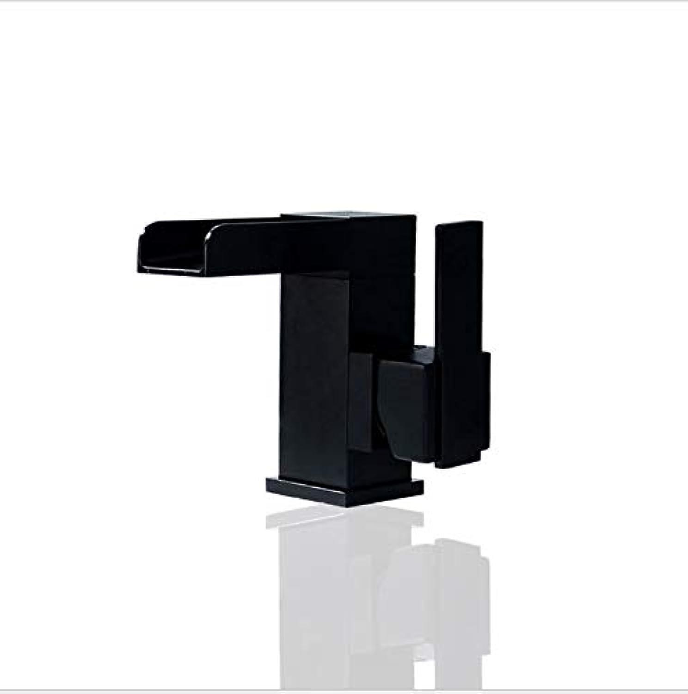 Floungey BadinsGrößetionen Waschtischarmaturen Küchenarmaturen Kupfer Wasserfall Becken Heies Und Kaltes Wasser Wasserhahn Quadrat Schwarz Lackiert Waschbecken Wasserhahn
