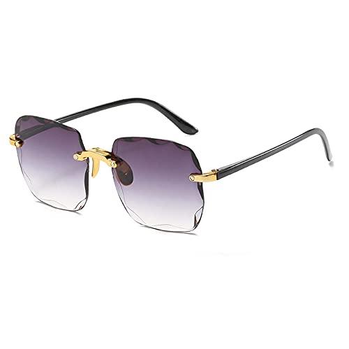 Gafas De Sol Gafas De Sol Cuadradas Sin Montura Gafas De Sol Graduadas De Moda para Mujer Gafas De Sol De Gran Tamaño Sombra Uv400 Dorado-Gris
