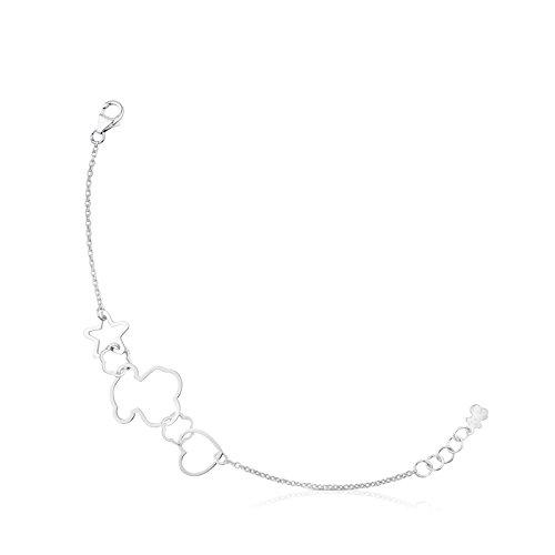 TOUS Pulsera cadena Mujer plata de Primera Ley con Siluestas estrella, corazón y Oso, Largo 17,5 cm