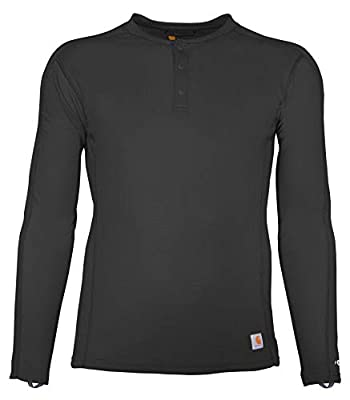 Carhartt Men's Force Midweight Classic Henley Thermal Base Layer Long Sleeve Shirt, Black, Large
