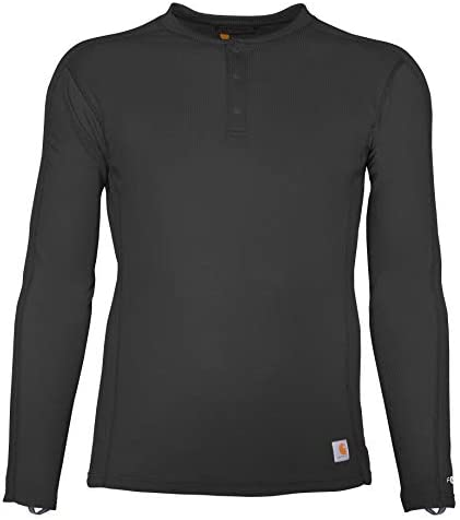 Carhartt Men s Force Midweight Classic Henley Thermal Base Layer Long Sleeve Shirt Black Large product image