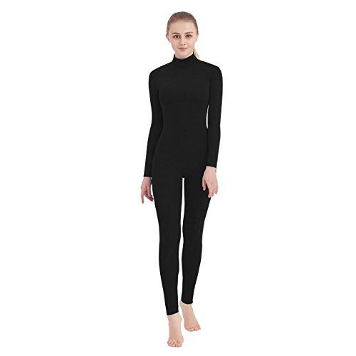 SUPRNOWA Womens Turtleneck Spandex Long Sleeve Front Zipper Footless Unitard (Large, Black)