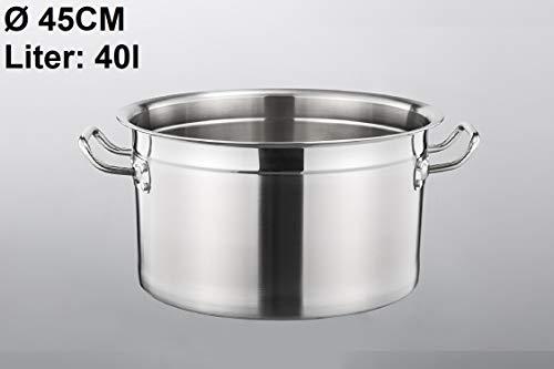 Euro Tische Gastronomie Kochtopf Suppentopf - 30 bis 100 Liter Edelstahl Kochtöpfe - ideal geeignet für ALLE Herdarten & große Küchen - Gastro Topfset (40 L)